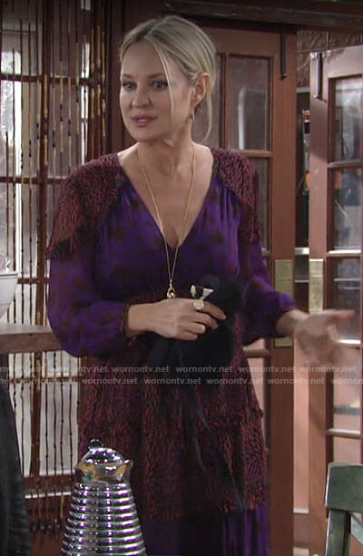 Sharon's purple mixed print dress on The Young and the Restless