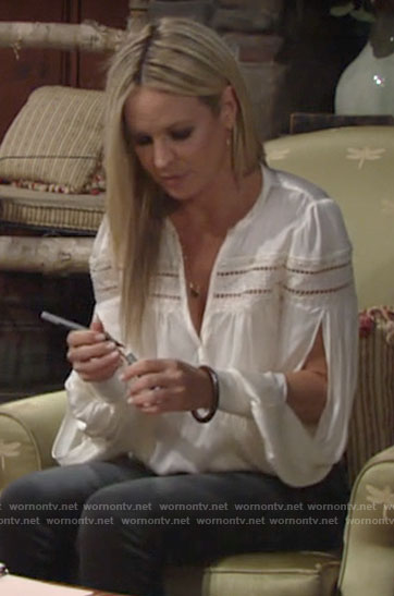 Sharon's white blouse with cutout stripes on The Young and the Restless