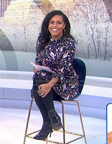 Sheinelle's navy floral mock neck dress on Today