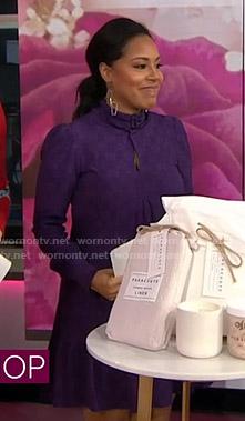 Sheinelle's purple textured dress on Today
