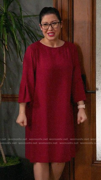 Sherri's red shift dress on All Rise