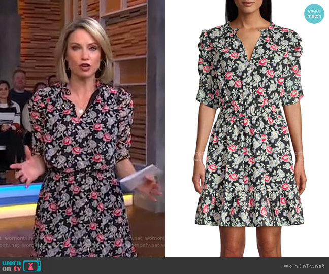 Jodelle Floral Puff-Sleeve Dress by Shoshanna worn by Amy Robach  on Good Morning America