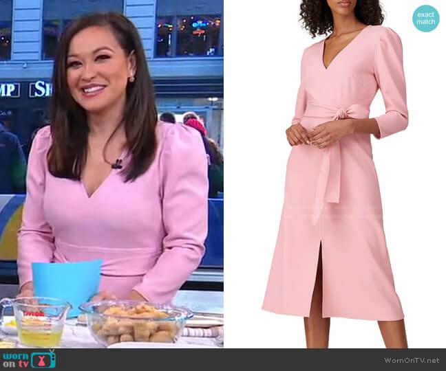Damia Dress by Shoshanna  worn by Eva Pilgrim on GMA
