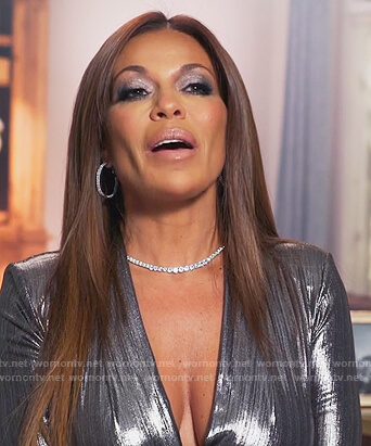 Dolores's silver metallic bodysuit on The Real Housewives of New Jersey