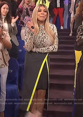 Wendy's snakeskin top and skirt on The Wendy Williams Show