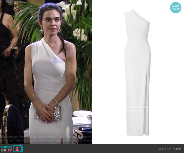Solace London Averie Dress worn by Victoria Newman (Amelia Heinle) on The Young & the Restless