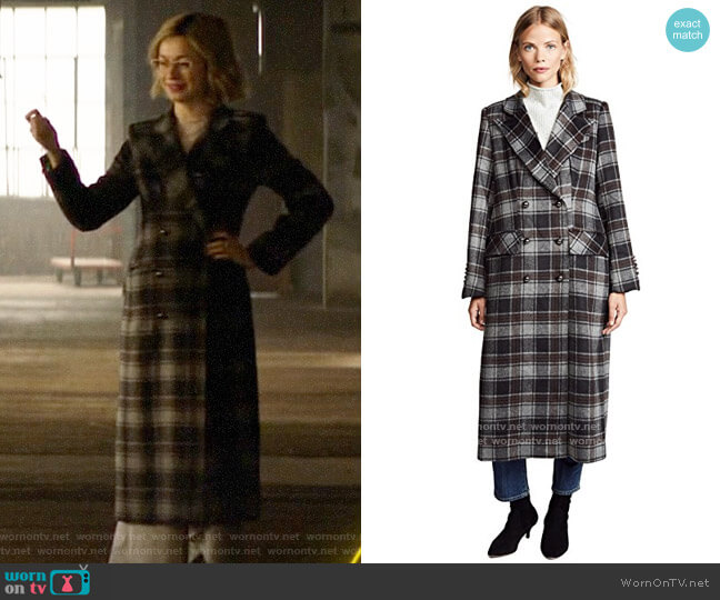 Sosken Gin Plaid Coat worn by Pepper Smith (Julia Chan) on Katy Keene
