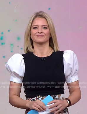Sara's colorblock puff sleeve top on Good Morning America