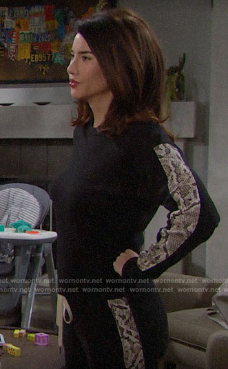 Steffy's black sweatshirt with snake print stripes on The Bold and the Beautiful