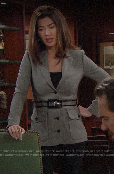 Steffy's belted blazer with front pockets on The Bold and the Beautiful