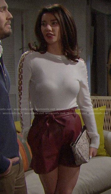 Steffy's white ring detail sweater and red leather shorts on The Bold and the Beautiful