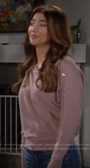 Steffy's pink button sleeve sweatshirt on The Bold and the Beautiful