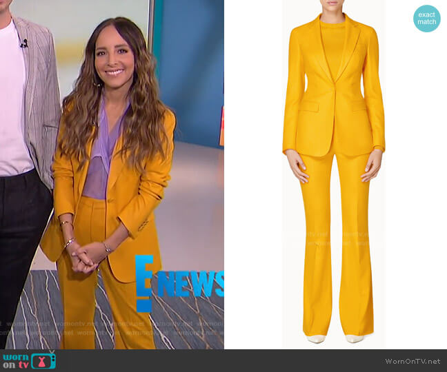 Cameron Jacket and Robin Flared Trousers by Suistudio worn by Lilliana Vazquez  on E! News