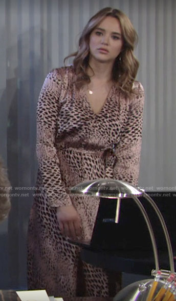 Summer's animal print long sleeved dress on The Young and the Restless