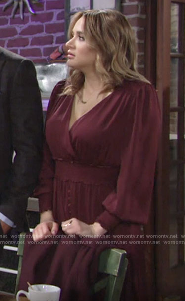 Summer's burgundy long sleeved smocked waist dress on The Young and the Restless