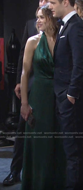 Summer's green halter neck gown on The Young and the Restless
