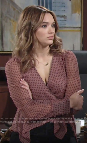 Summer's pink dotted wrap blouse on The Young and the Restless