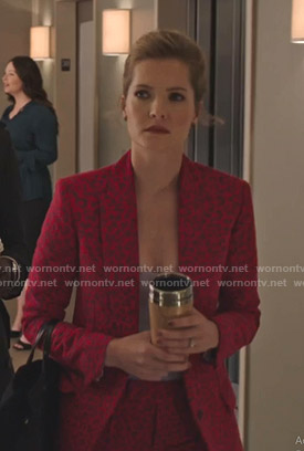 Sutton's red leopard print suit on The Bold Type