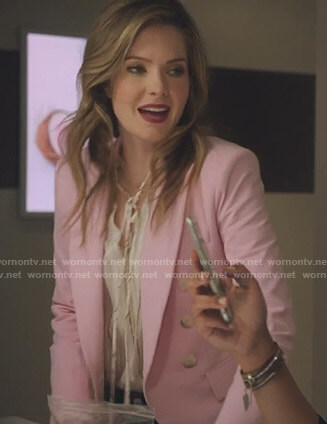 Sutton's tie neck blouse and pink blazer on The Bold Type