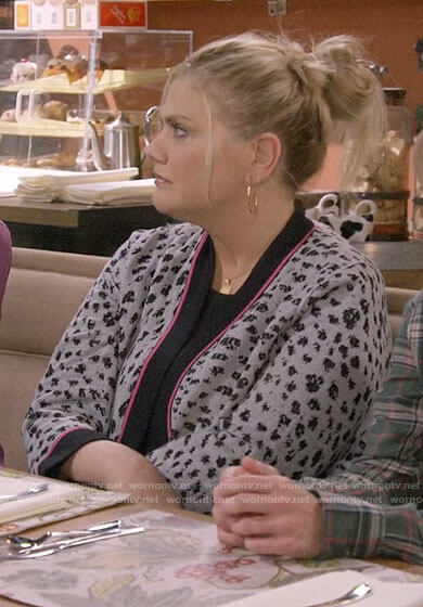 Tammy's leopard print cardigan with pink trim on Mom