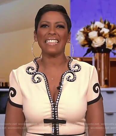 Tamron's white crystal trim embellished dress on Tamron Hall Show