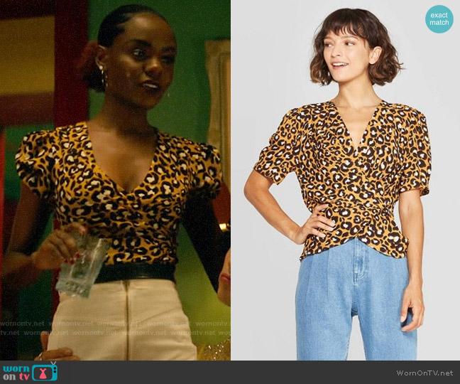 Target WhoWhatWear Leopard Print Short Sleeve Deep V-Neck Wrap Top worn by Josie McCoy (Ashleigh Murray) on Katy Keene