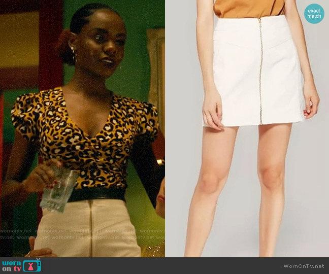 Target Wild Fable Zip Front Cord Mini Skirt worn by Josie McCoy (Ashleigh Murray) on Katy Keene