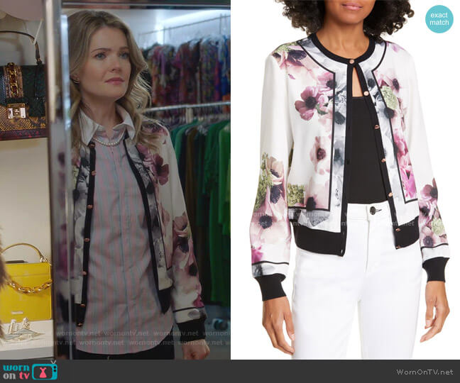 Neopolitan Border Cardigan by Ted Baker worn by Sutton (Meghann Fahy) on The Bold Type