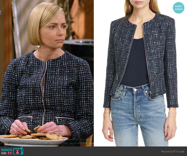 Ted Baker Fearnij Bouclé Jacket worn by Jill Kendall (Jaime Pressly) on Mom