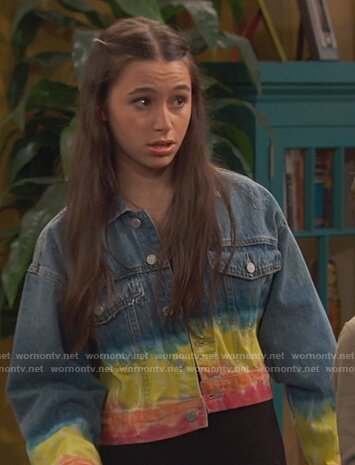 Tess's denim rainbow tie dye jacket on Ravens Home