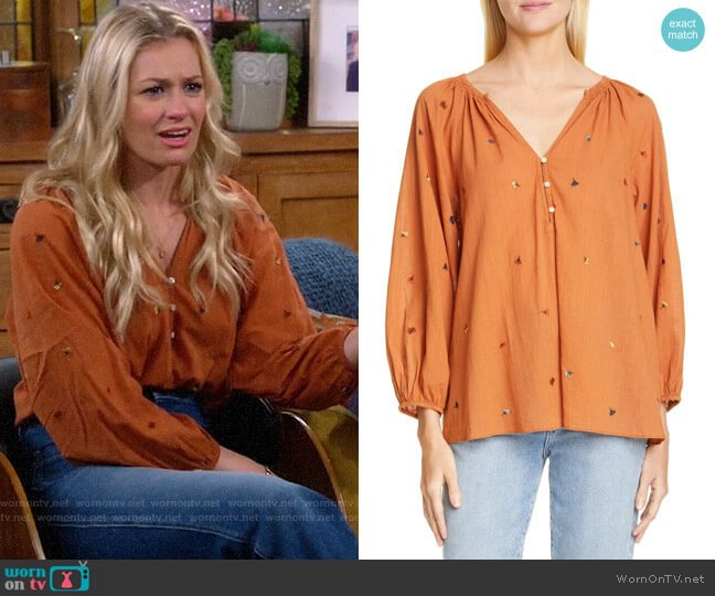 The Great The Derby Embroidered Top worn by Gemma (Beth Behrs) on The Neighborhood