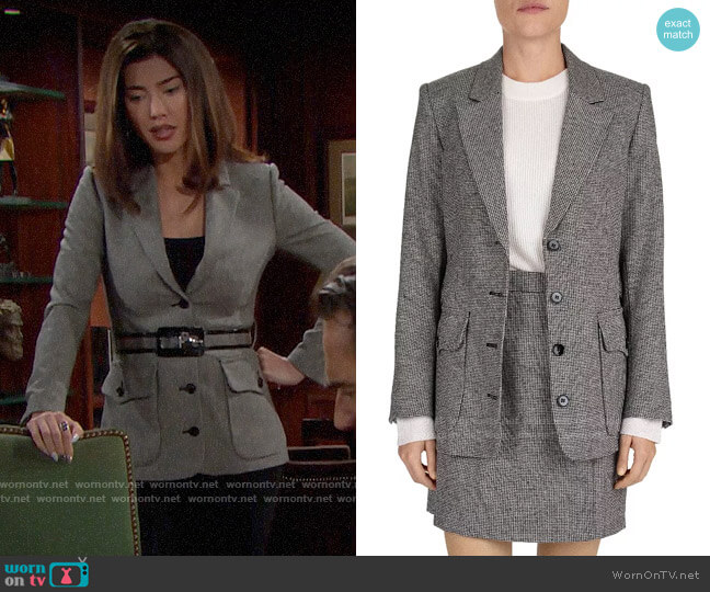 The Kooples Carreman Belted Houndstooth Blazer worn by Steffy Forrester (Jacqueline MacInnes Wood) on The Bold & the Beautiful