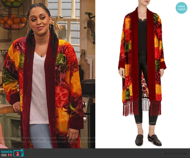 Red Firework Floral Burnout Velvet Kimono by The Kooples worn by Cocoa McKellan (Tia Mowry-Hardrict) on Family Reunion