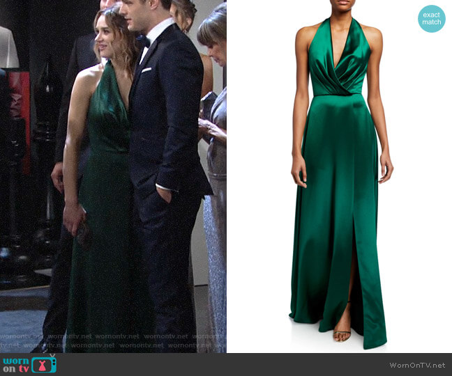 Theia Plunge Front Heavy Charmeuse Satin Halter Gown worn by Summer Newman (Hunter King) on The Young & the Restless