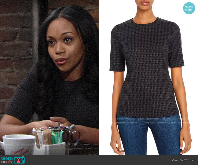 Theory Fitted Houndstooth Top worn by Amanda Sinclair (Mishael Morgan) on The Young & the Restless