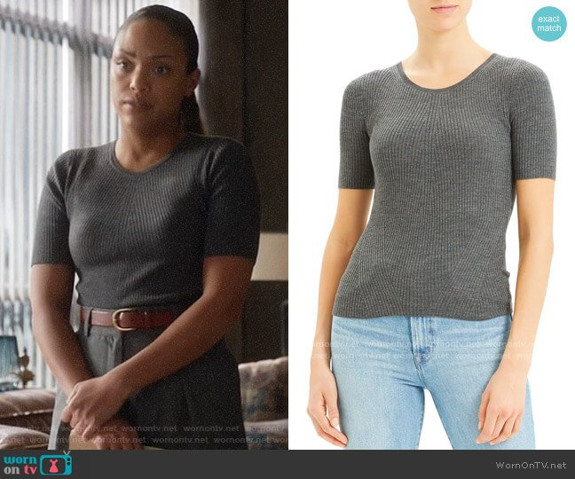 Theory Moving Rib Regal Wool Tee worn by Danny James (Jaime Lee Kirchner) on Bull