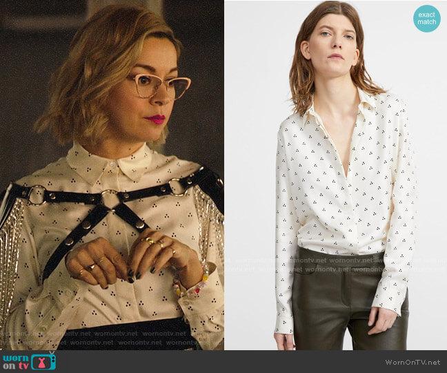 Theory Silk Dot Straight Shirt worn by Pepper Smith (Julia Chan) on Katy Keene