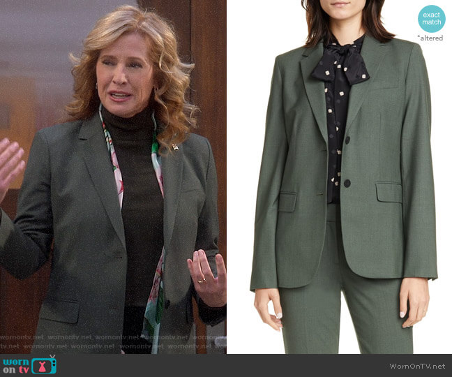 Theory Hunter Green Melange Carissa Blazer worn by Vanessa Baxter (Nancy Travis) on Last Man Standing