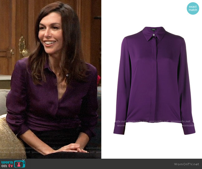 Theory Plum Classic Fitted Shirt worn by Anna Devane (Finola Hughes) on General Hospital