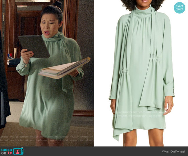 Tibi Modern Drape Long Sleeve Dress worn by Sherri Kansky (Ruthie Ann Miles) on All Rise