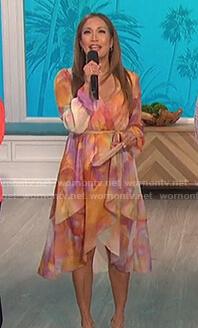 Carrie's tie dye wrap dress on The Talk