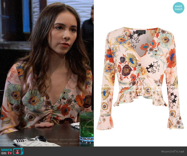 Topshop Star & Floral Print Ruched Blouse worn by Molly Lansing-Davis (Haley Pullos) on General Hospital