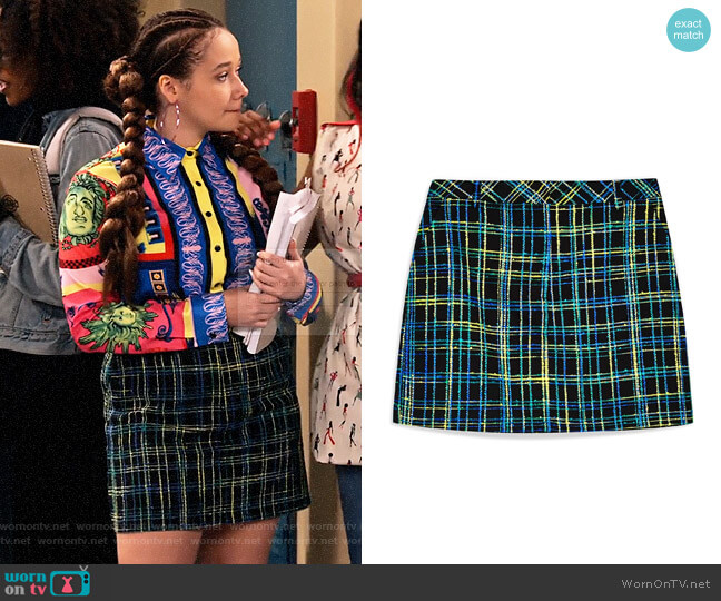 Topshop Boucle Check Skirt worn by Jade (Talia Jackson) on Family Reunion