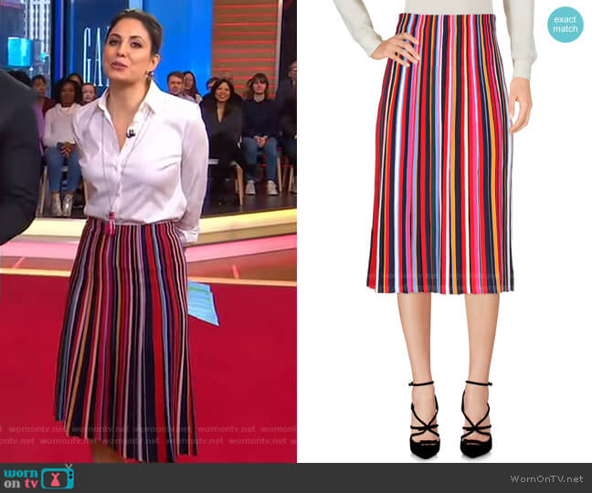 Ellis Striped Skirt by Tory Burch worn by Cecilia Vega  on Good Morning America