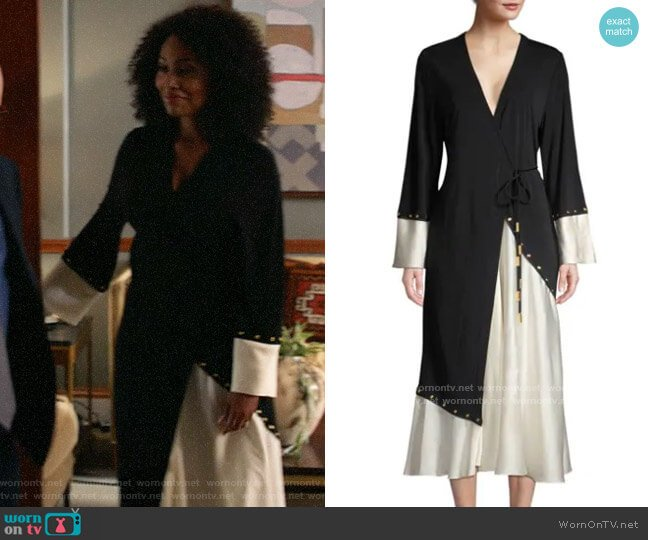 Tory Burch Mixed Material Wrap Dress worn by Lola Carmichael (Simone Missick) on All Rise