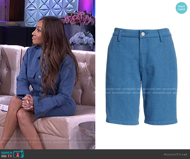 Sydney High Waist Denim Trouser Shorts by Trave worn by Adrienne Houghton  on The Real