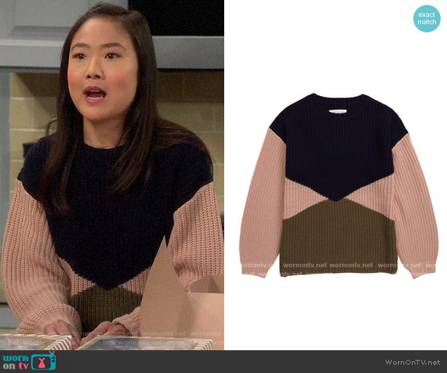 Treasure & Bond Big Girls Colorblock Sweater worn by Jen (Krista Marie Yu) on Last Man Standing