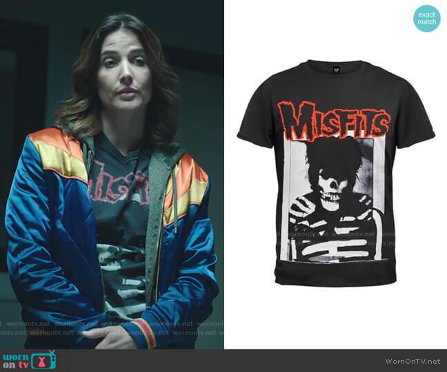 Danzig Skull Soft T-Shirt by Tultex worn by Dex Parios (Cobie Smulders) on Stumptown