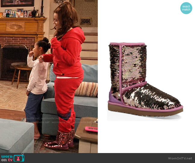 Ugg Classic Short Sequin Boot worn by Jade (Talia Jackson) on Family Reunion