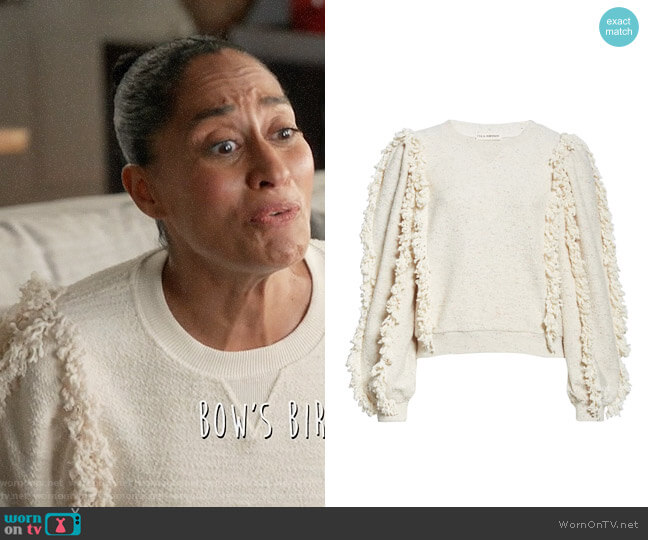 Ulla Johnson Sage Fringed Sweatshirt worn by Rainbow Johnson (Tracee Ellis Ross) on Blackish